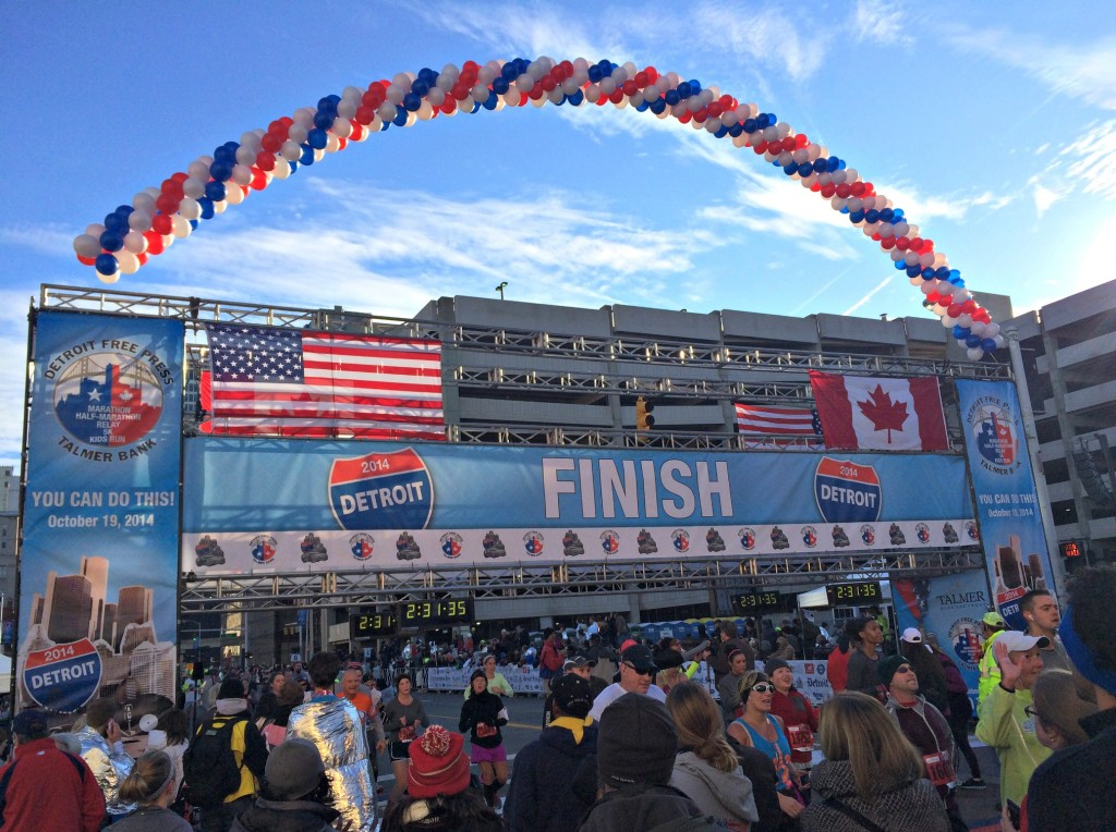 Detroit Free Press Marathon finish line 2014