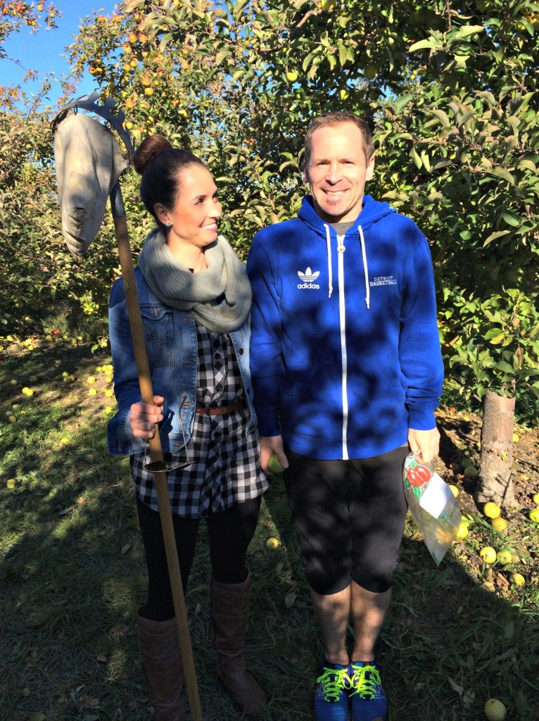 Scott and I at the apple orchard funny