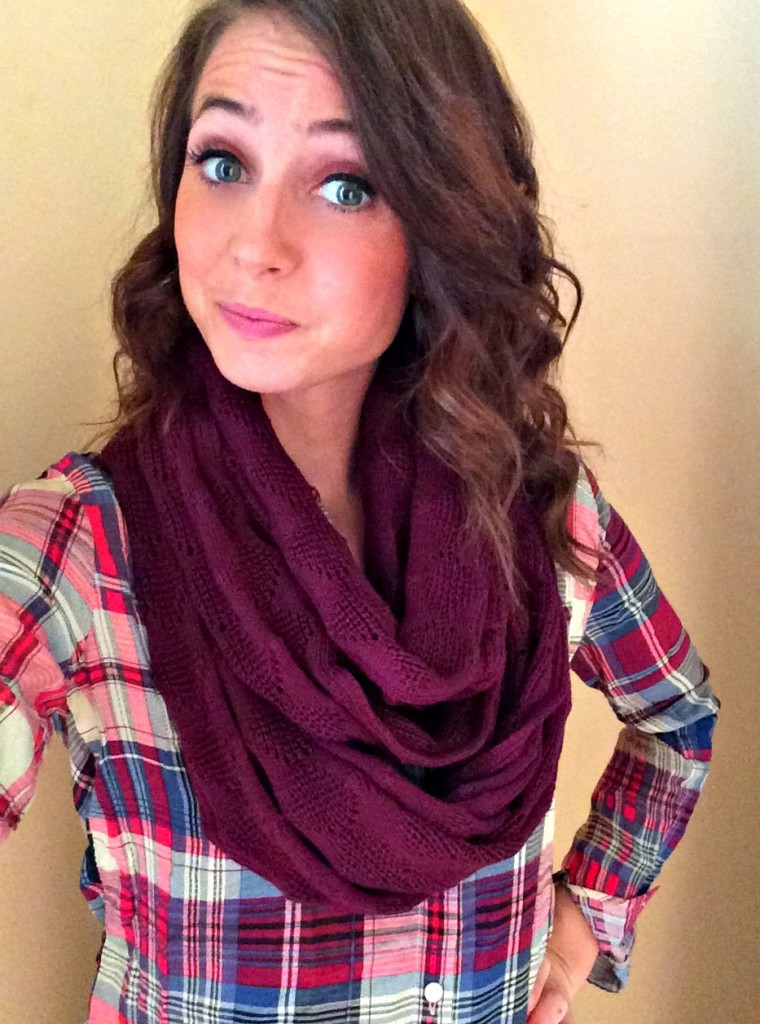 Stitch Fix plain button up and infinity scarf fall 2014