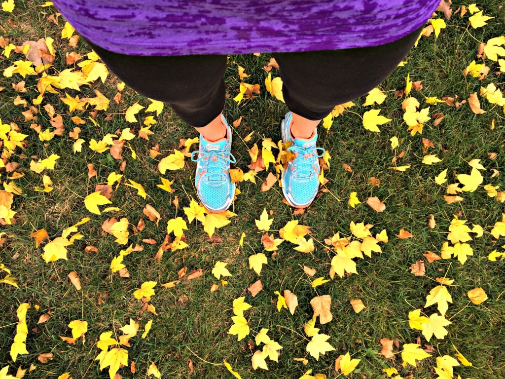 crunching leaves on my run