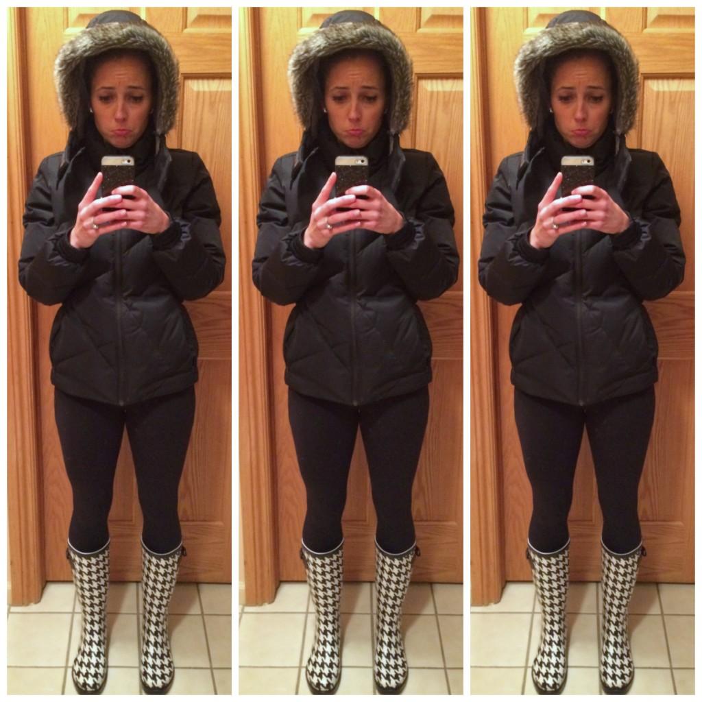 heather in winter coat and leggings