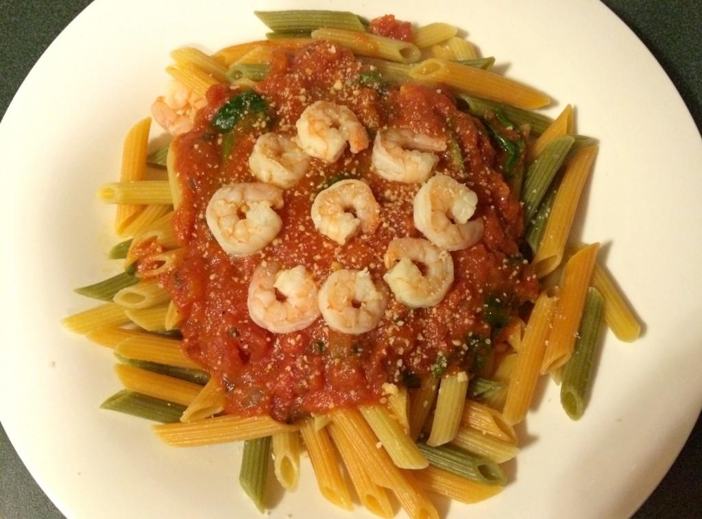 shrimp with veggie noodles pasta