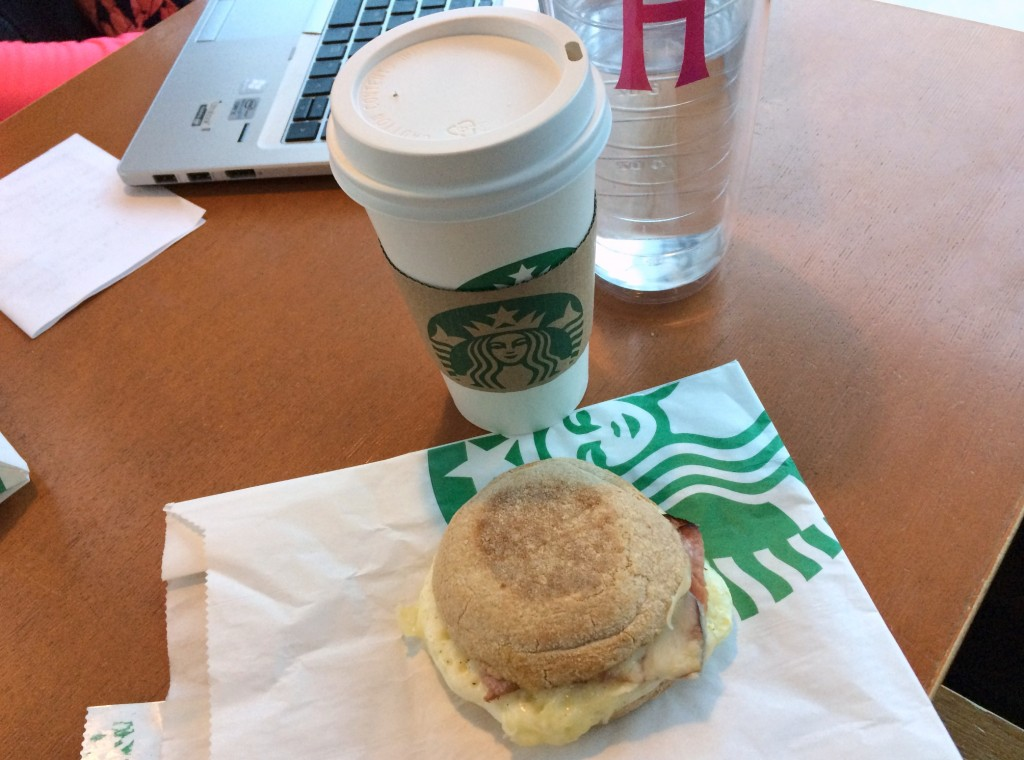 starbucks turkey bacon breakfast sandwich and skinny vanilla latte