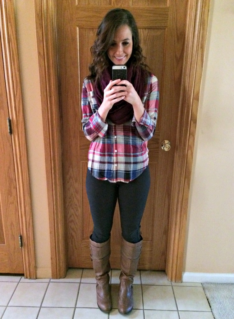 stitch fix fall outfit plain button-up infinity scarf and high rise skinny jean