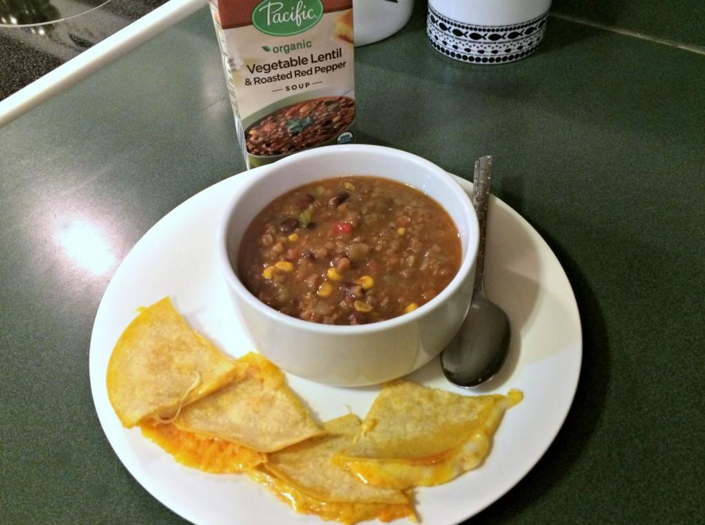 vegetable lentil roasted red pepper soup and corn tortilla fajitas