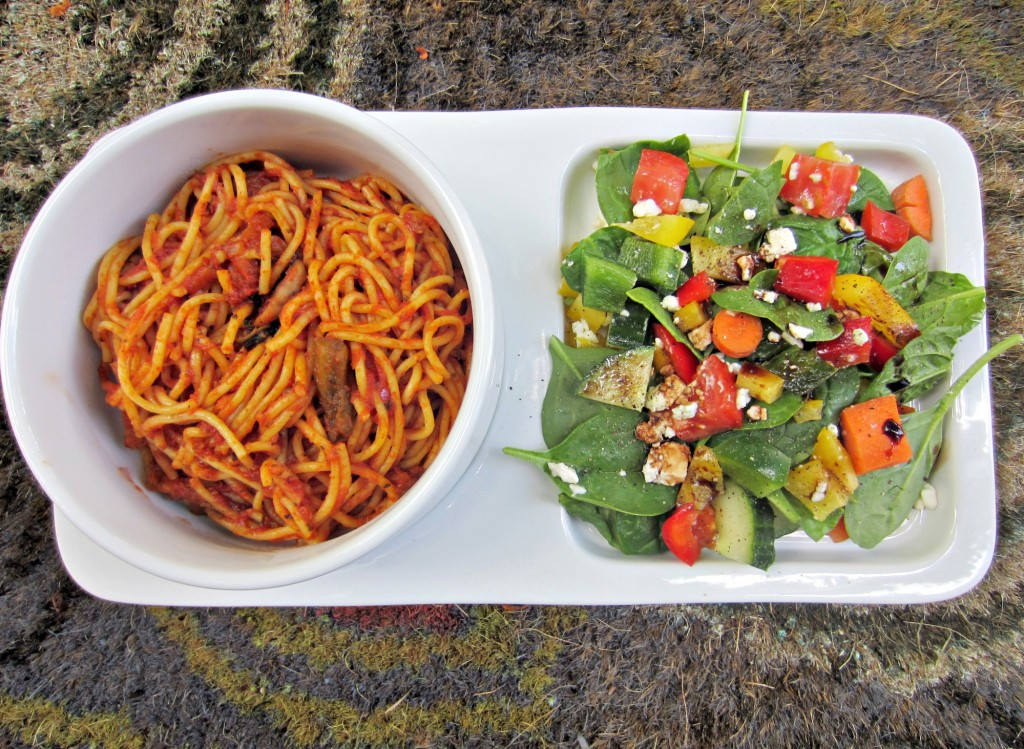 veggie noodle spaghetti and side salad
