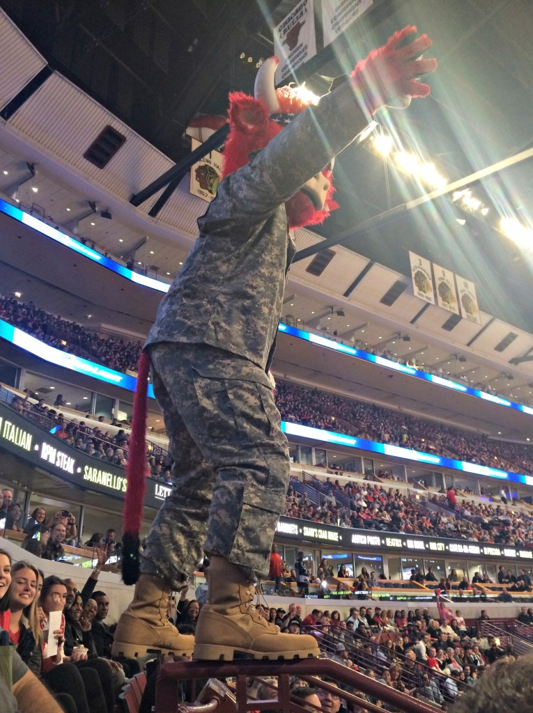 Benny the Bull balancing in stands
