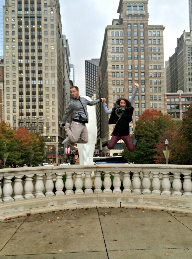 Scott and I jumping in Millineum Park Chicago