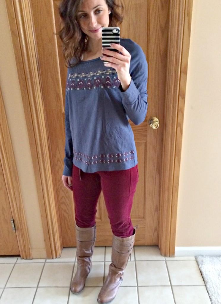 Stitch Fix maroon corduroy skinny pant