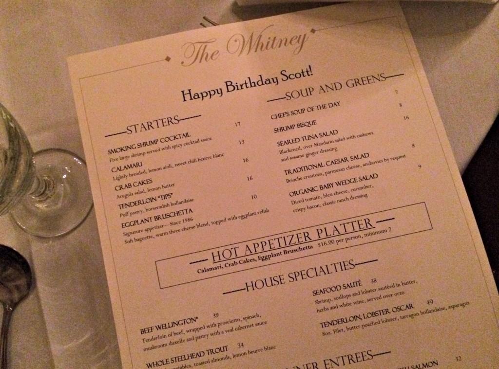 The Whitney Happy Birthday menu