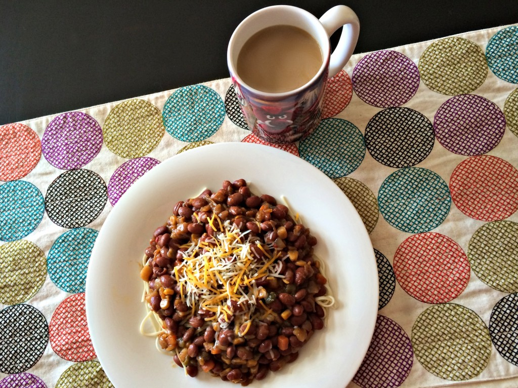 amy's chili over noodles and coffee