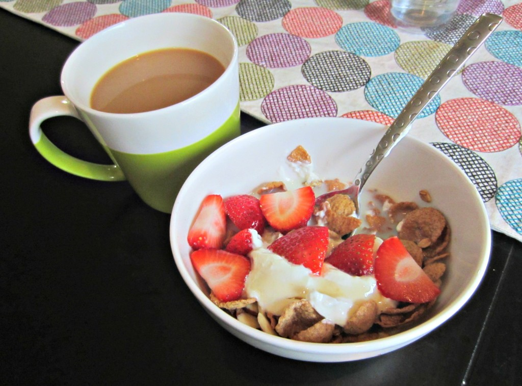 breakfast cereal with yogurt and fruit