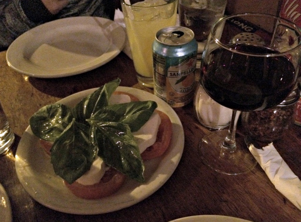 coalfire pizza caprese salad and wine