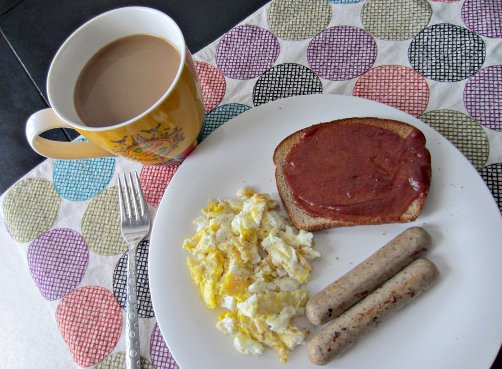 eggs chicken sausage and toast with cherry apple butter