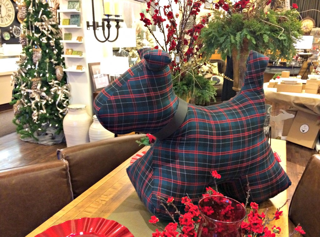 plaid flannel dog christmas decoration