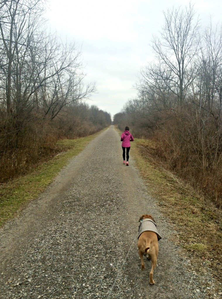 running the trails with roadie and mom