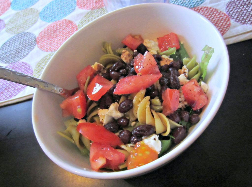 salad with noodles and beans