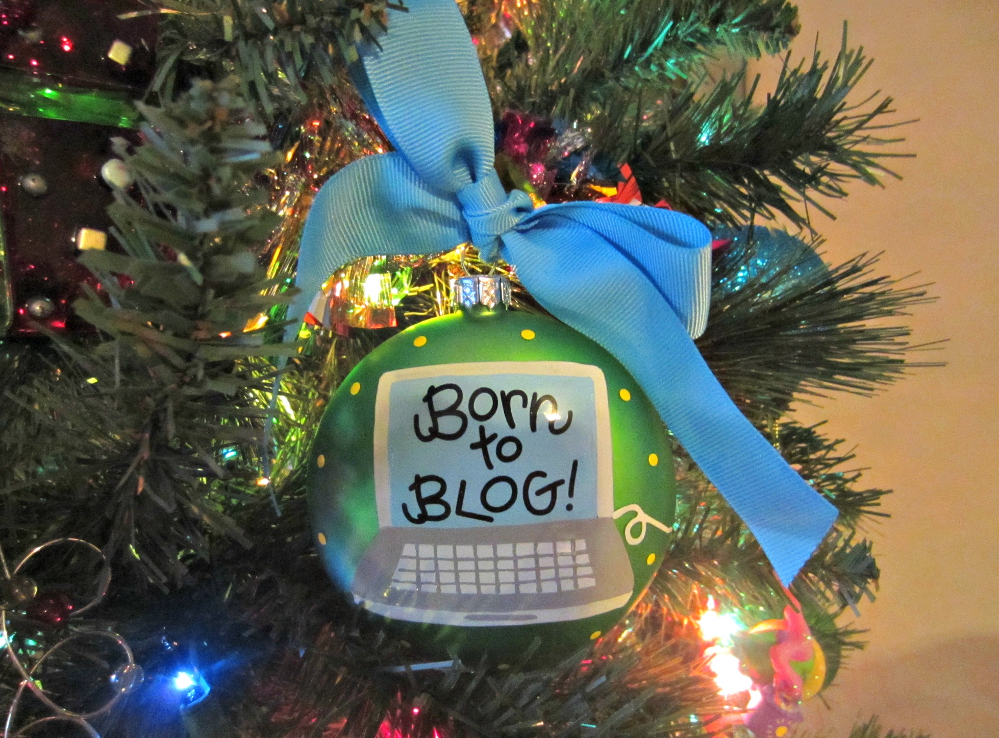 born to blog christmas ornament