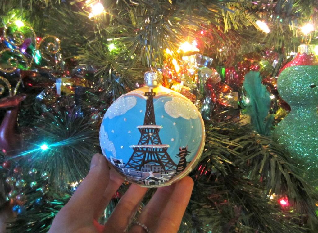 hand painted paris christmas ornament