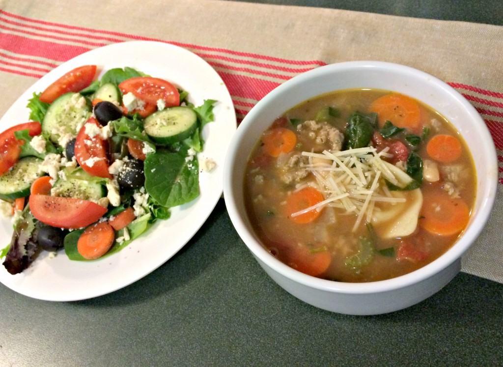 healthy italian tortellini soup and salad