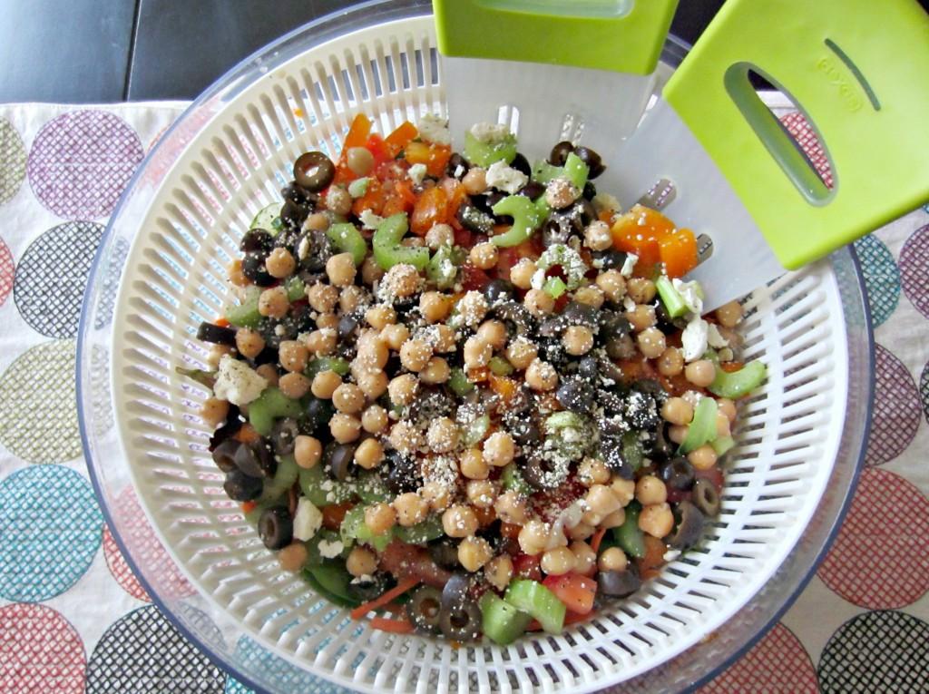monster salad in a salad spinner