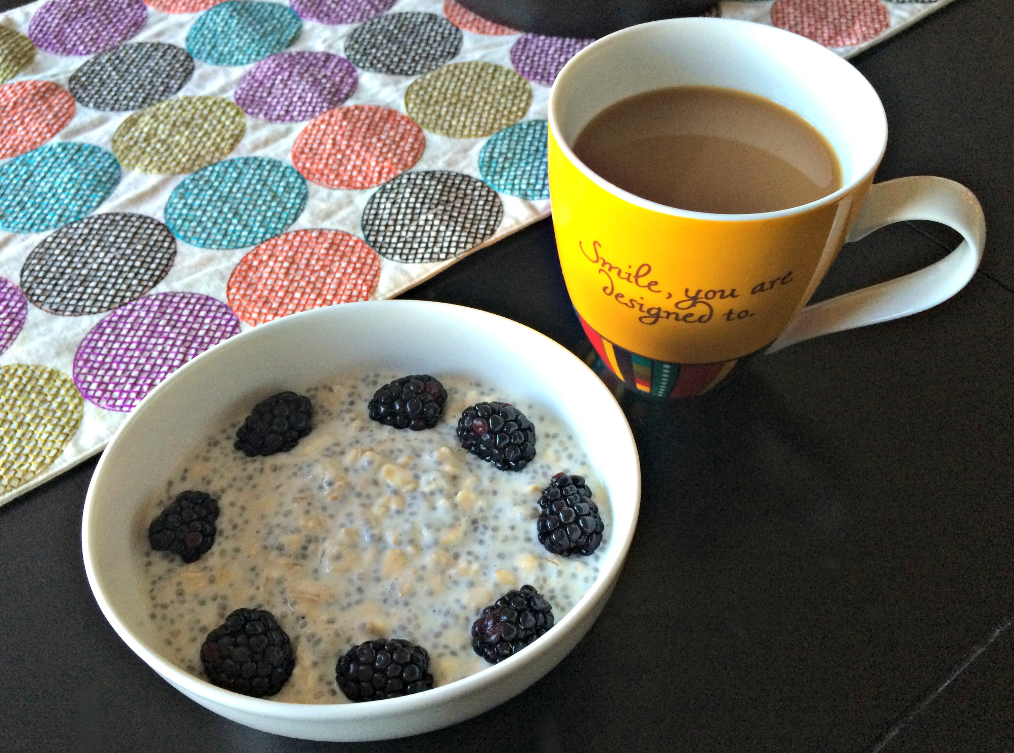 overnight oats with berries and coffee