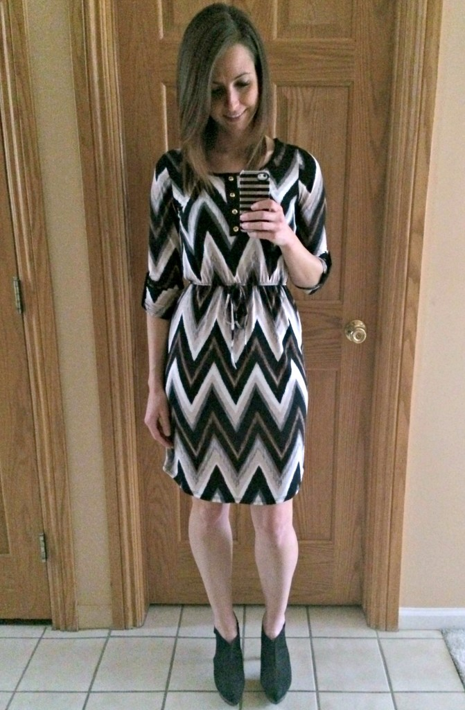 papermoon 34 chevron henley dress