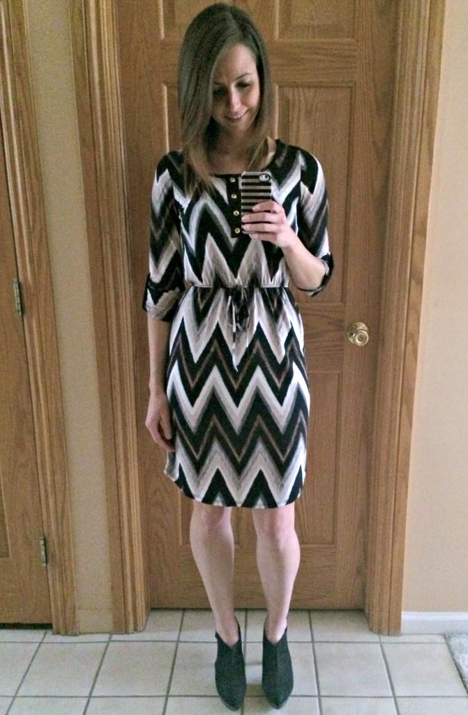 papermoon 34 chevron henley dress
