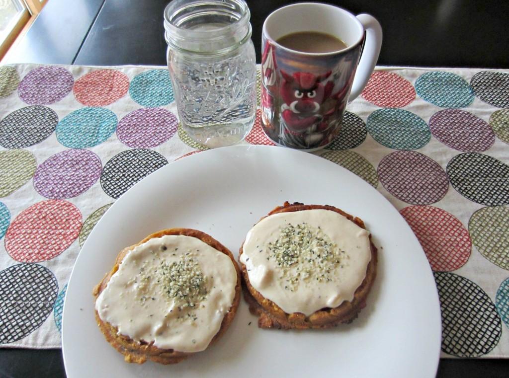 pumpkin spice gluten free waffles with pumpkin greek yogurt breakfast