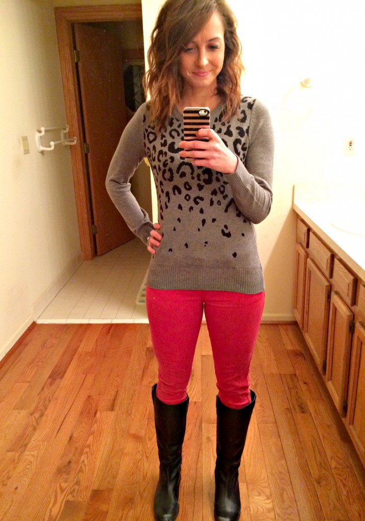 red skinny jeans leopard sweater