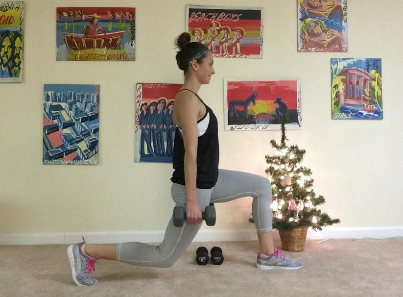 reverse lunges with dumbbells