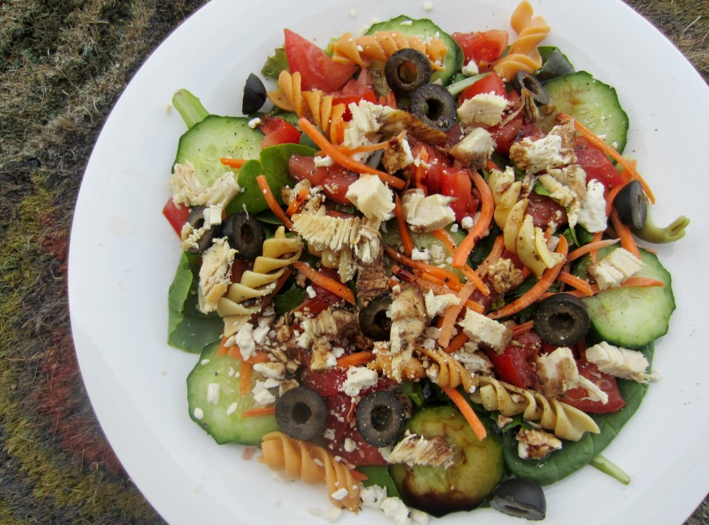salad with turkey noodles and veggies