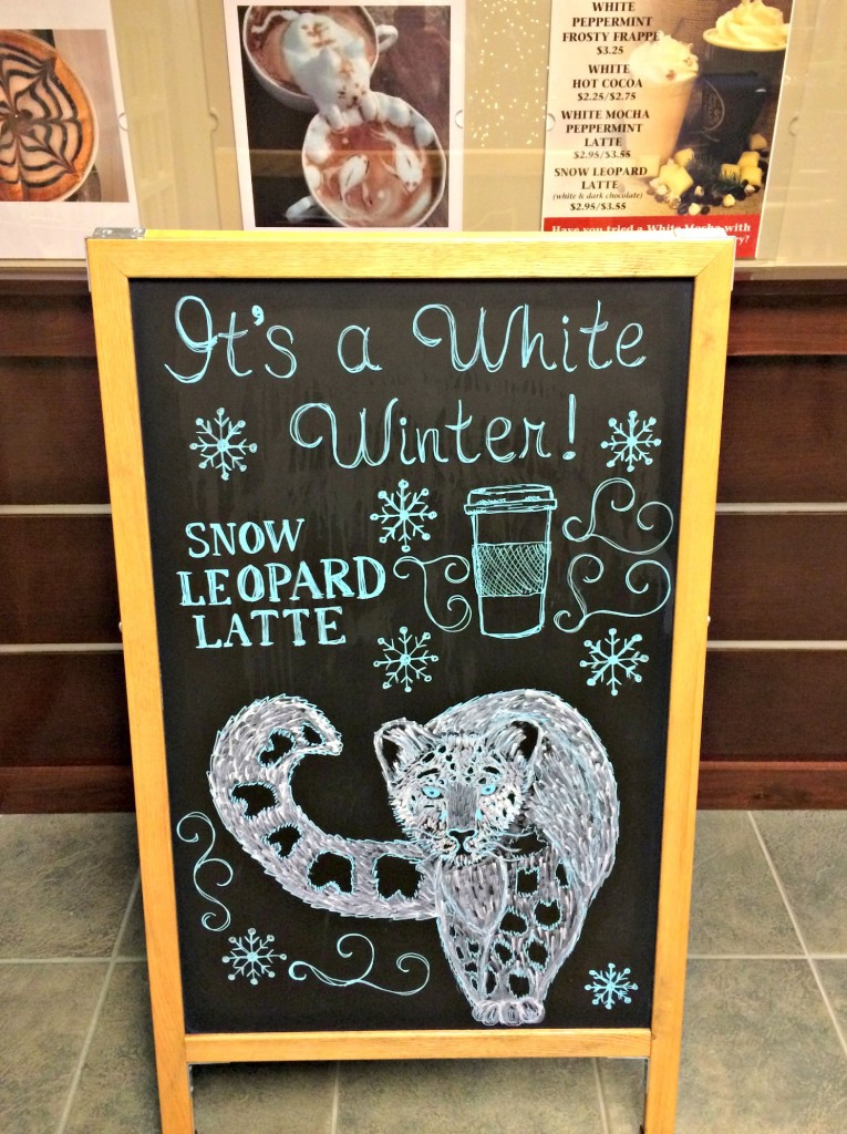 snow leopard latte sign