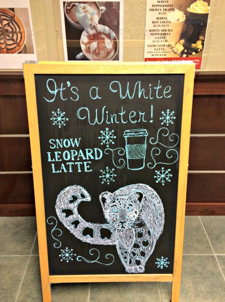 snow leopard latte sign