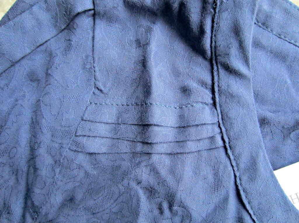 stitch fix skies are blue textured botton front shirt closeup