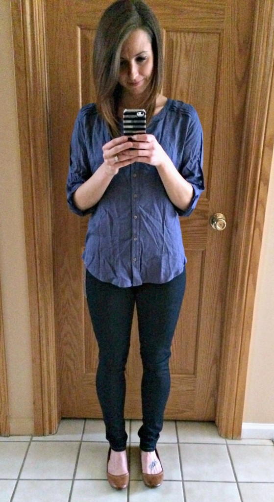 stitch fix skies are blue tory textured button front shurt and liverpool mira skinny pull on jean
