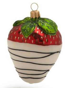 sur la table white chocolate dipped strawberry ornament