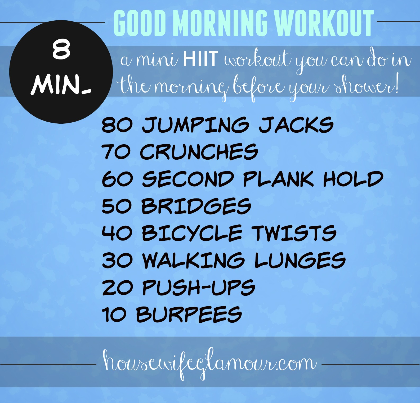 Mini HIIT workout before your shower