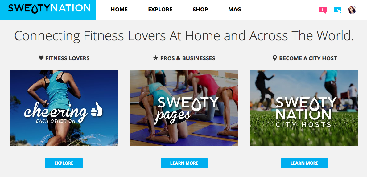 Sweaty Nation homepage