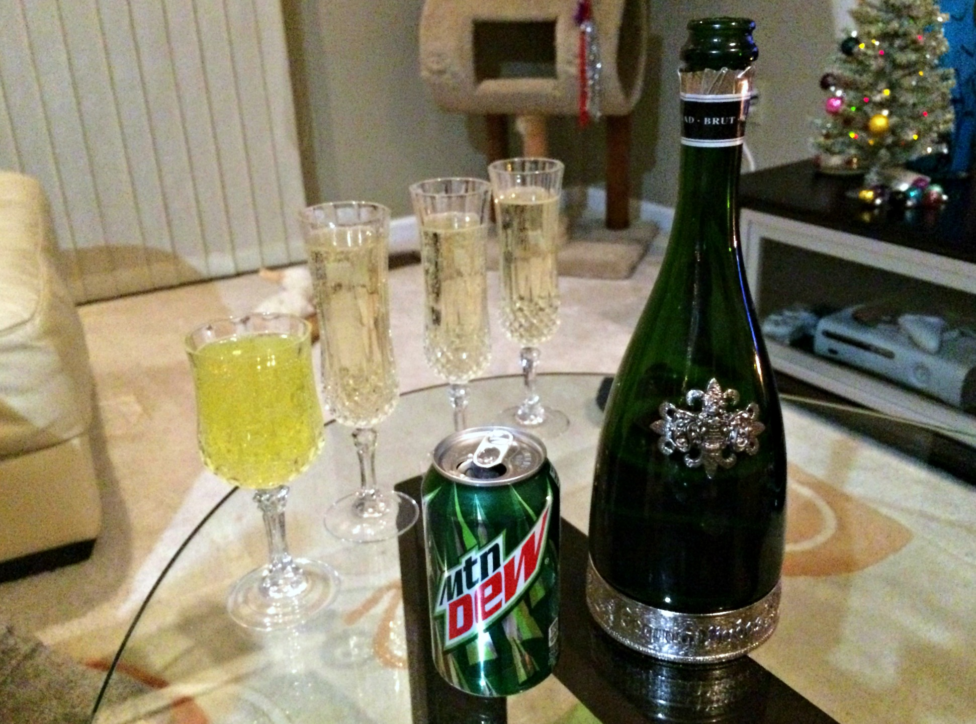 champage toast and mountain dew for new years