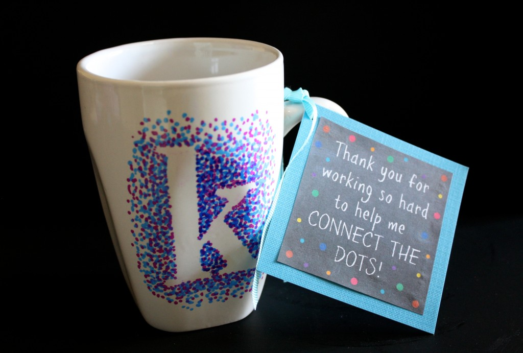 dotted sharpie thank you mug