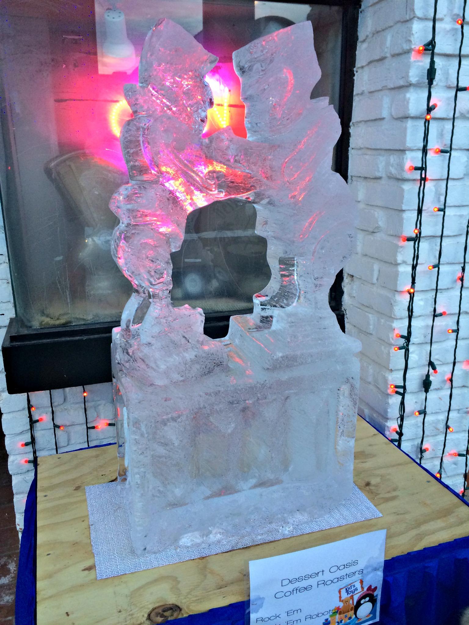 ice sculpture rock 'em sock 'em robots
