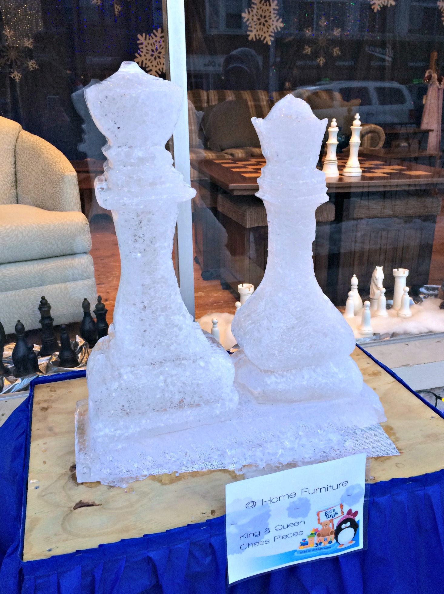 ice sculptures chess pieces