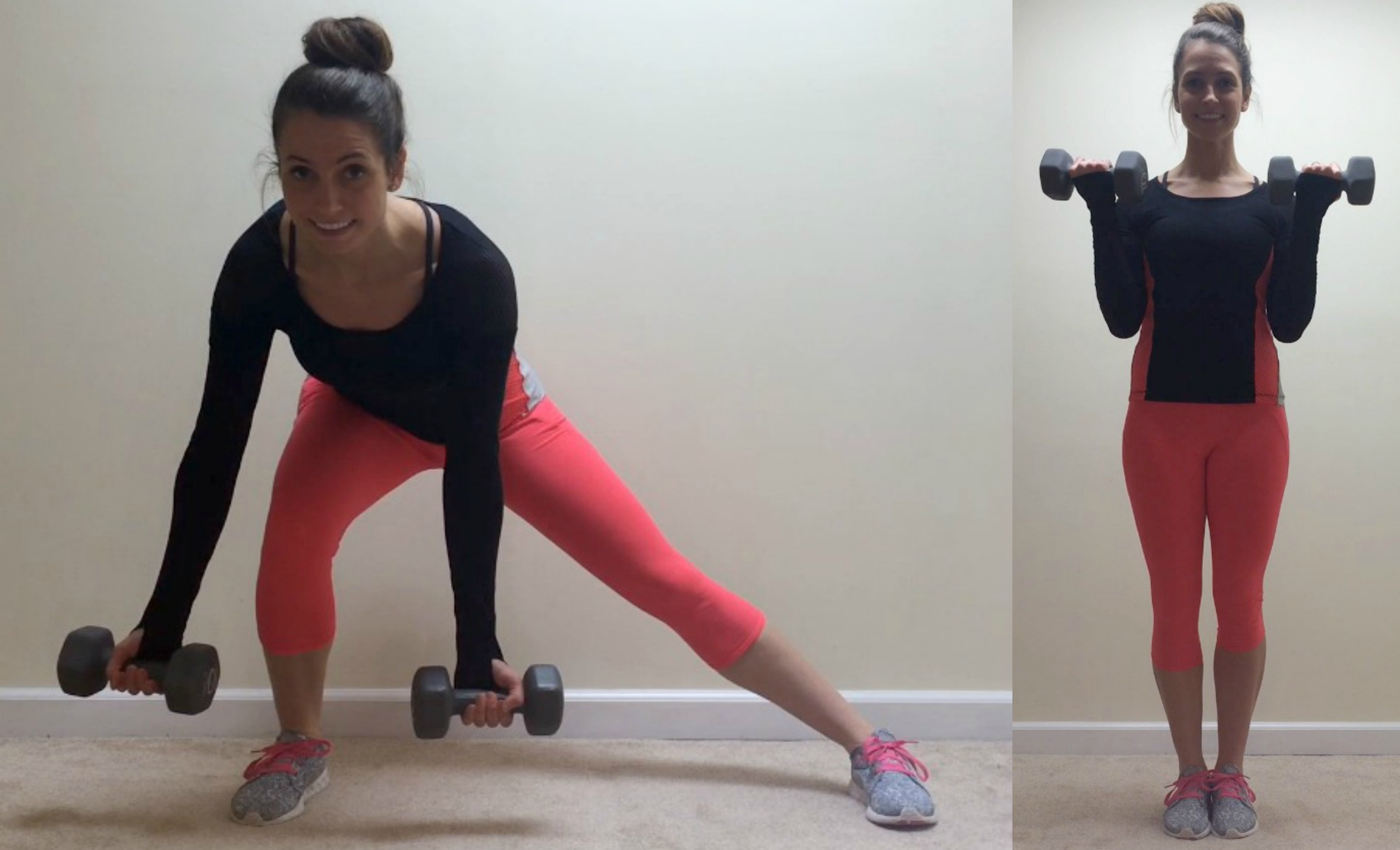 side lunge to biceps curls