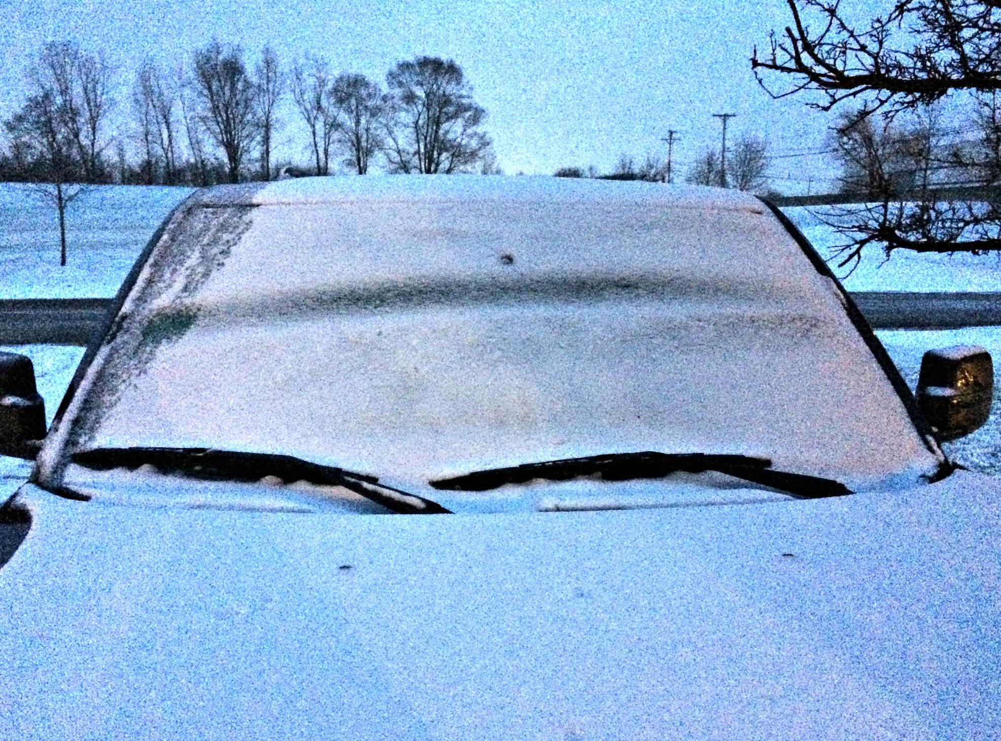 snow on the car