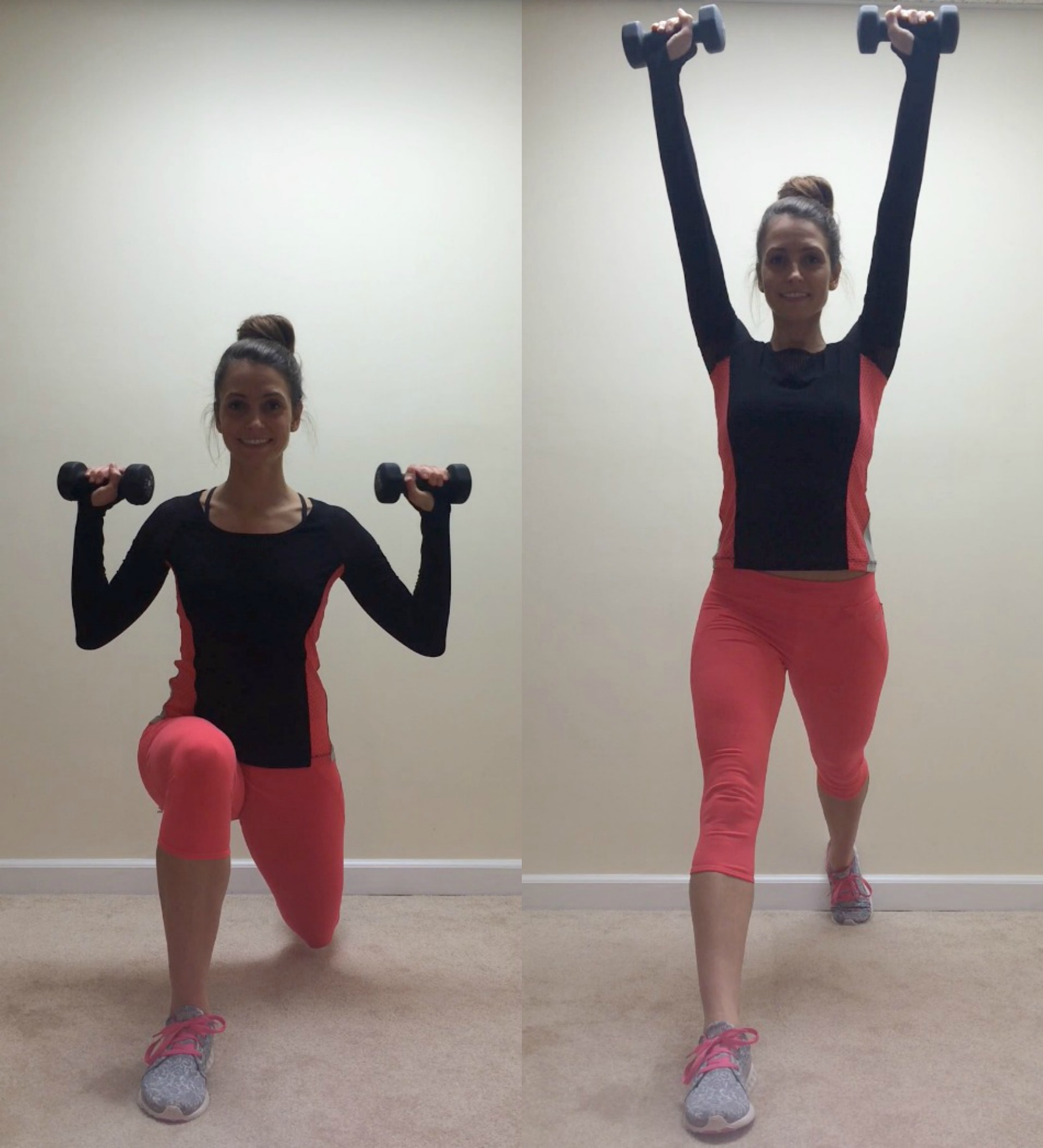 split squat to shoulder presses