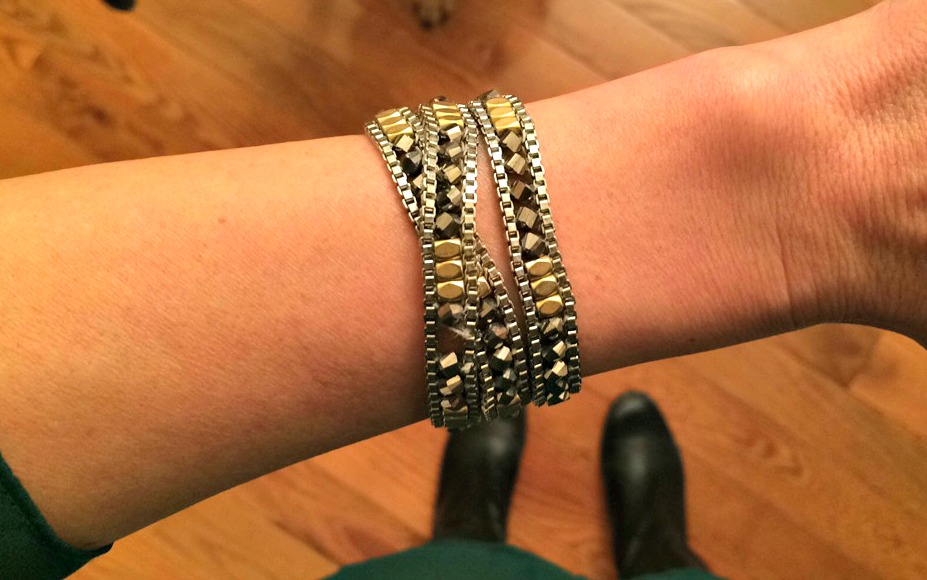 stella and dot wrap metal bracelet
