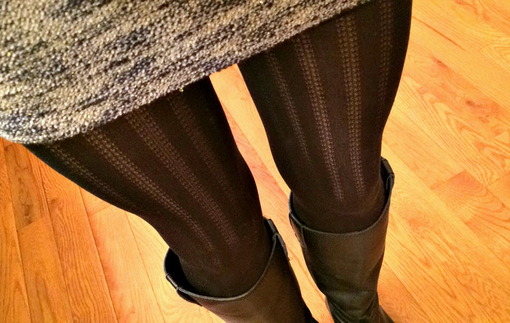 textured tights under a dress