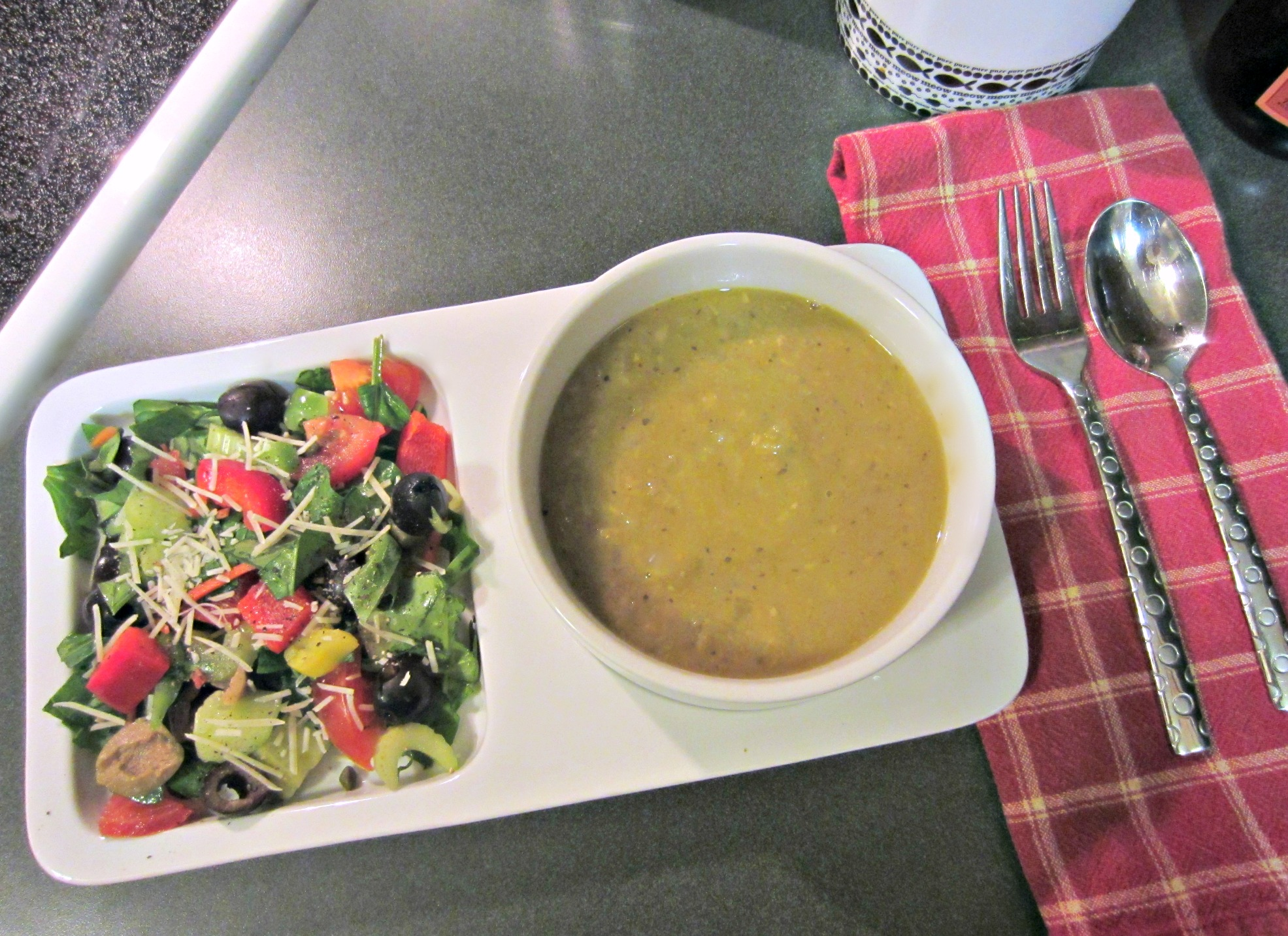 veggie salad and split pea soup