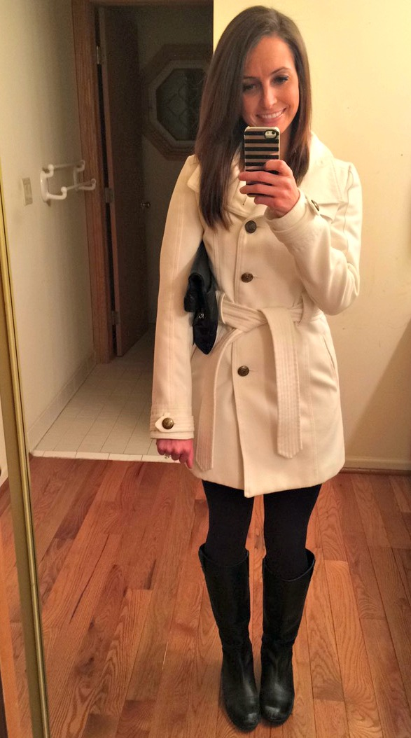 white peacoat winter fashion